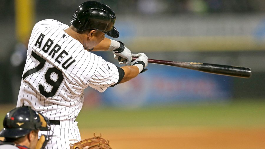 CHICAGO, IL - APRIL 10: Jose Abreu #79 of the Chicago White Sox hits a solo home run in the 2nd inning against the Cleveland Indians at U.S. Cellular Field on April 10, 2014 in Chicago, Illinois. (Photo by Jonathan Daniel/Getty Images)