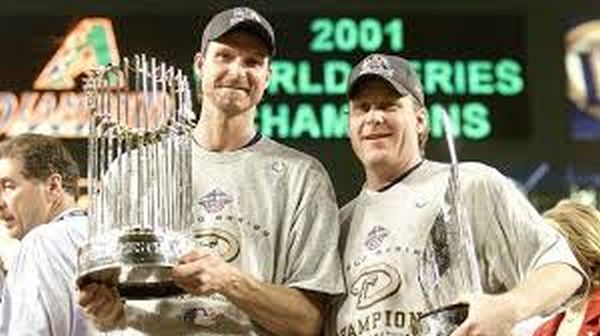 In what can be classified as the best tandem starting duo we have since in the 2000s, Johnson and Schilling were electric in 2001 and 2002, featuring a 90 - 25 combined record, with well over 1300 Strikeouts between them. Johnson won 2 straight NL Cy Young Awards, and Schilling was the runner up. In 2001, they ran through the postseason - collecting 9 of the teams 11 wins - en route to a prevailing 7 game world series win over the 3 time reigning champs the Yankees. These 2 guys logged 90 Innings over 12 Game Starts in the 2001 playoffs, including Johnson coming out of the pen for Game & to beat New York